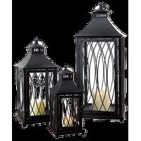 """Lantern (Set of 3) 11.5""""H,16""""H,24""""H Metal/Glass"""