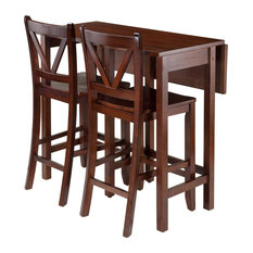 winsome trading inc lynnwood 3piece drop leaf table with 2 counter v