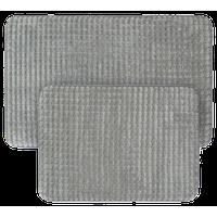 2-Piece Memory Foam Bath Mat Set, Woven Jacquard Fleece, Platinum