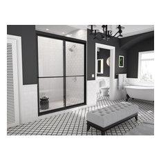 "Newport Framed Sliding Shower Door, Towel Bar, Clear, Matte Black, 48""x70"""