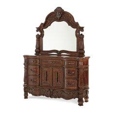 AICO Michael Amini Windsor Court Dresser and Mirror, Vintage