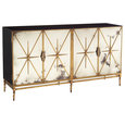 Adalyn Hollywood Regency Antique Mirror Gold Black 4 Door Sideboard