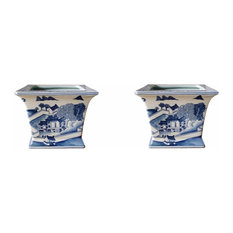 Set of 2 Blue and White Blue Willow Square Porcelain Flower Pots 6""