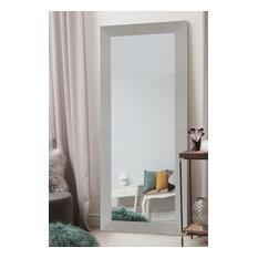 """Urban Metro II Brushed Nickel Silver Wall Mirror, 26""""x36"""""""