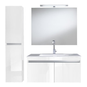 Bali 5-Piece Wall-Mounted Bathroom Vanity Unit, 100 cm, Lacquered White