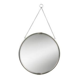 "Brea Reclaimed Metal Round Hanging Wall Mirror, 20"" Diameter, Silver"