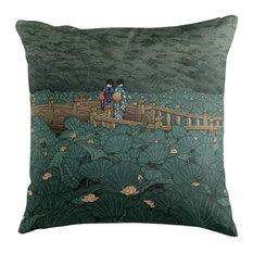 """""""Shiba Benten Pond"""" Japanese Print Cushion, 50x50 cm"""