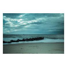 """Blue Morning at Rehoboth"" Coastal Wall Art Unframed Photo Paper Print, 24""x36"""
