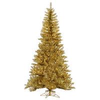 Vickerman Tinsel Tree, Tree: Gold/Silver, Lights: Clear, 9'