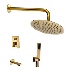 Wall Mount Gold Single Lever Round Shower Set With Handheld Shower Head