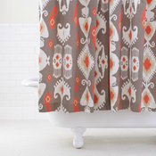 Grey/Coral Ikat Shower Curtain