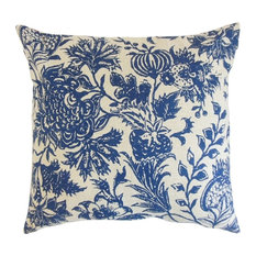 "Bionda Floral Pillow, Blue 18""x18"""