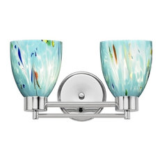 Destination Lighting   Modern Bathroom Light With Ocean Turquoise Blue  Glass, Chrome   Bathroom Vanity
