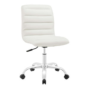 Ripple Armless Mid Back Faux Leather Office Chair, White