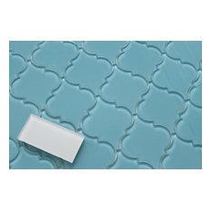 "Infinity Blue Arabesque Glass Mosaic Tile, 12""x12"""
