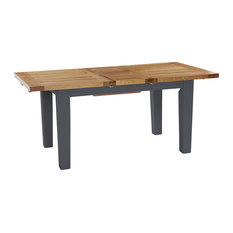 Natural Wood Extendable Dining Table, Dark Grey, Small