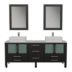 "Webster 71"" Espresso Double Sink Vanity Set, Brushed Nickel Faucets"