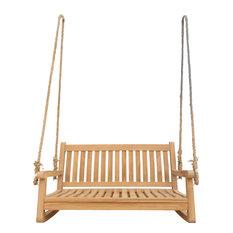 Teak Wood San Juan Double Outdoor Porch Swing, 4'