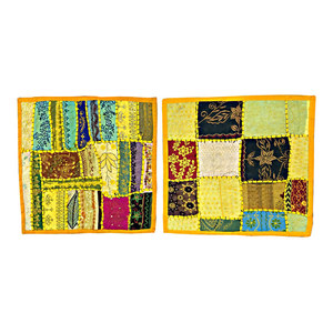 Mogul Interior - 2 Indian Cushion Covers Vintage Patchwork Pillow Cover Bohemian Home Deco - Decorative Pillows