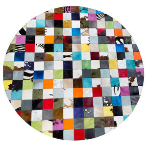 Patchwork Leather Cubed Multi Rug, 150 cm Round