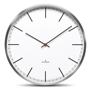 Huygens One25 White Index Wall Clock, Stainless Steel