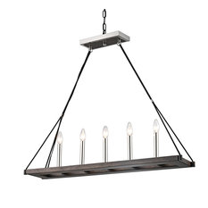 5-Light Polish Nickel, Black, and Wood Finish Rectangular Linear Chandelier