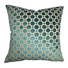 "The Pillow Collection Inc. - Kostya Geometric Pillow Turquoise 20""x20"" - Decorative Pillows"
