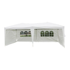 Outdoor 10'x20' Easy Pop Up Canopy Tent, White with 4 Removable Sidewalls