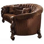ACME - Acme Versailles Sofa w/ 5 Pillows Brown Velvet & Cherry Oak - Versailles Collection by ACME Furniture