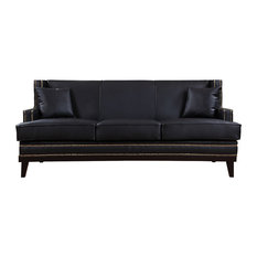 Marvelous Divano Roma Furniture   Modern Soft Bonded Leather With Nailhead Trim  Details, Black   Sofas