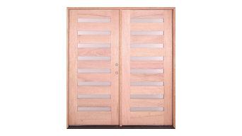 Exterior Modern Mahogany 8 Light Double Door, Left-Hand