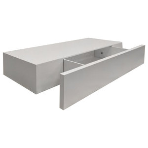 Hidden 60 cm Floating Shelf With Drawer, White