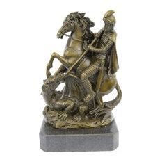 St. George Dragon Slayer Bronze Statue Military Saint Catholic Patron