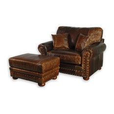 Western Style Leather Oversized Chair   Armchairs And Accent Chairs