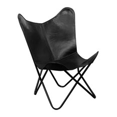 VidaXL Butterfly Chair Real Leather Black Seat Lounger Sleeper Furniture Home