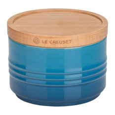Le Creuset Stoneware Small Storage Jar With Wooden Lid, Marseille Blue