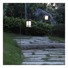 Set of 2 Black/White Solar Plastic Lanterns with Metal Shepherd Hooks