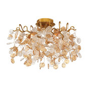 "Flush Mount 5-Light Bulb Fixture With Gold Tone Finish, G9 Type, 12"", 200W"