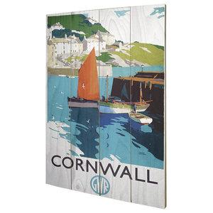 Cornwall Boats Wood Print, 40x59 cm