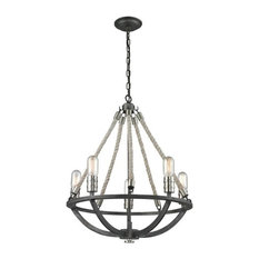 Natural Rope 5-Light Chandelier, Silvered Graphite/Polished Nickel Accents