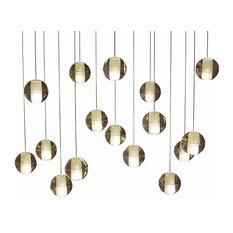 16-Light LED Rectangular Floating Glass Ball Chandelier