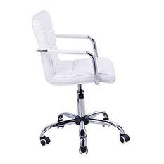 Modern Stool Upholstered, Faux Leather, 5 Castor Wheels, Back and Armrest, White