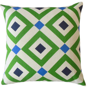 "Nailah Gemetric Throw Pillow, Green, 22""x22"""