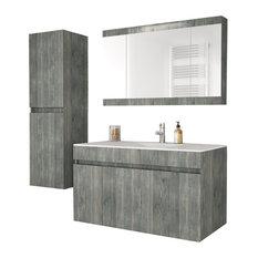 """Wall Smoked Oak Bathroom Vanity Cabinet Set Single Sink, 36"""", Vanity, Mirror and"""