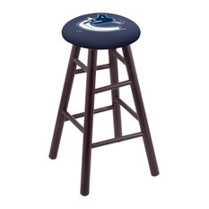 Maple Bar Stool Dark Cherry Finish With Vancouver Canucks Seat 30-inch
