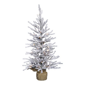 """Frosted Angel Pine Artificial Tree in Burlap Base, 30"""", Warm White LED Lights"""