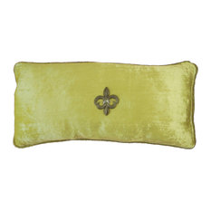 Green-Celadon-Lime Velvet Beaded Pillow With Removable Jewels, Silver Fleur