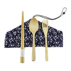Japanese Wooden Chopsticks Spoon Forks Cutlery Set Carry 4-Piece Tableware, B08