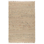 Kosas Home - Megan Natural Jute Handwoven Area Rug, 8'x10' - Brighten your room with this 8x10 rug featuring sandy hues of jute handwoven into a traditional Moroccan pattern. Fringe and hand distressing add texture and visual interest while creating an inviting atmosphere. Ideal for any style of home, this rug is available in multiple sizes to fit any sized space including hallways.