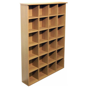 Contemporary Storage Unit in Oak Finished Particle Board with 24 Compartments